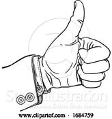 Vector Illustration of Hand Thumbs up Gesture Thumb out Fingers in Fist by AtStockIllustration