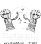 Vector Illustration of Hands Breaking Chain Shackle Handcuffs by AtStockIllustration