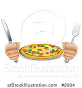 Vector Illustration of Hands Holding a Knife and Fork with a Supreme Pizza Pie by AtStockIllustration