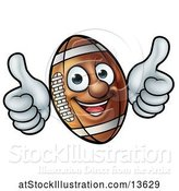 Vector Illustration of Happy American Football Character Mascot Giving Two Thumbs up by AtStockIllustration