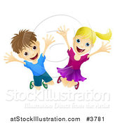 Vector Illustration of Happy and Energetic Children Jumping by AtStockIllustration