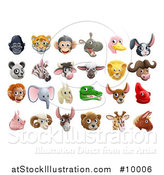 Vector Illustration of Happy Animal Face Avatars by AtStockIllustration