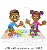 Vector Illustration of Happy Black Boy Painting and Girl Playing with Blocks by AtStockIllustration