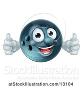 Vector Illustration of Happy Bowling Ball Mascot Giving Two Thumbs up by AtStockIllustration