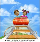 Vector Illustration of Happy Cartoon Black Boy and Girl at the Top of a Roller Coaster Ride, Against a Blue Sky with Clouds by AtStockIllustration