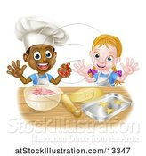 Vector Illustration of Happy Cartoon Black Boy and White Girl Baking Star Shaped Cookies by AtStockIllustration