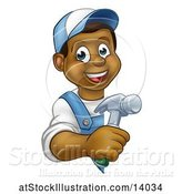 Vector Illustration of Happy Cartoon Black Male Carpenter Holding a Hammer Around a Sign by AtStockIllustration