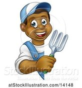 Vector Illustration of Happy Cartoon Black Male Gardener Holding a Garden Fork Around a Sign by AtStockIllustration