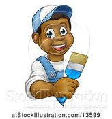Vector Illustration of Happy Cartoon Black Male Painter Holding a Brush Around a Sign by AtStockIllustration