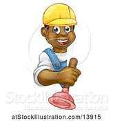 Vector Illustration of Happy Cartoon Black Male Plumber Holding a Plunger Around a Sign by AtStockIllustration