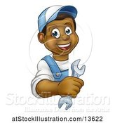 Vector Illustration of Happy Cartoon Black Male Plumber Holding a Spanner Wrench Around a Sign by AtStockIllustration