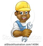 Vector Illustration of Happy Cartoon Black Male Plumber Holding a Wrench Around a Sign by AtStockIllustration
