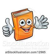Vector Illustration of Happy Cartoon Book Character Mascot Giving a Thumb up and Waving by AtStockIllustration