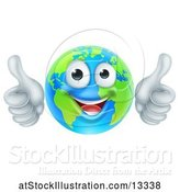 Vector Illustration of Happy Cartoon Earth Mascot Giving Two Thumbs up by AtStockIllustration