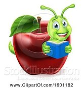 Vector Illustration of Happy Cartoon Green Book Worm Reading in a Red Apple by AtStockIllustration