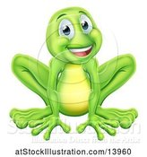Vector Illustration of Happy Cartoon Green Frog by AtStockIllustration