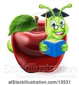 Vector Illustration of Happy Cartoon Green Graduate Book Worm Reading in a Red Apple by AtStockIllustration