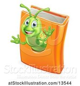 Vector Illustration of Happy Cartoon Green Worm Emerging from a Book by AtStockIllustration