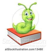 Vector Illustration of Happy Cartoon Green Worm on a Book by AtStockIllustration