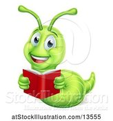 Vector Illustration of Happy Cartoon Green Worm Reading a Book by AtStockIllustration