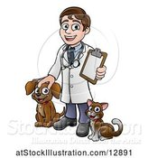 Vector Illustration of Happy Cartoon May Veterinarian Waving and Holding a Clipboard, with a Dog and Cat by AtStockIllustration