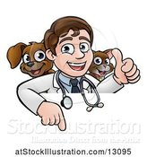 Vector Illustration of Happy Cartoon May Veterinarian with a Dog and Cat over a Sign by AtStockIllustration