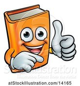 Vector Illustration of Happy Cartoon Orange Book Character Mascot Giving a Thumb up and Pointing by AtStockIllustration