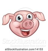 Vector Illustration of Happy Cartoon Pink Pig Mascot Face by AtStockIllustration