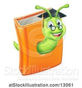 Vector Illustration of Happy Cartoon Professor or Graduate Earthworm Emerging from a Book by AtStockIllustration