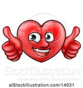 Vector Illustration of Happy Cartoon Red Love Heart Character Giving Two Thumbs up by AtStockIllustration