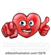 Vector Illustration of Happy Cartoon Red Love Heart Character Pointing at You and Giving a Thumb up by AtStockIllustration