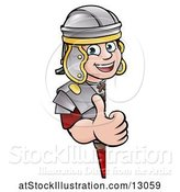 Vector Illustration of Happy Cartoon Roman Soldier Giving a Thumb up Around a Sign by AtStockIllustration