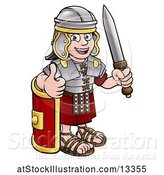 Vector Illustration of Happy Cartoon Roman Soldier Giving a Thumb Up, Holding a Sword and Leaning on a Shield by AtStockIllustration