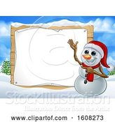 Vector Illustration of Happy Cartoon Snowman Wearing a Christmas Santa Hat by a Blank Sign in a Winter Landscape by AtStockIllustration