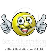 Vector Illustration of Happy Cartoon Tennis Ball Mascot Giving Two Thumbs up by AtStockIllustration