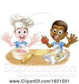 Vector Illustration of Happy Cartoon White and Black Boys Making Frosting and Cookies by AtStockIllustration