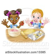 Vector Illustration of Happy Cartoon White and Black Girls Making Pink Frosting and Star Shaped Cookies by AtStockIllustration