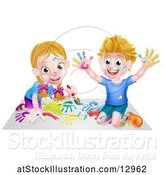 Vector Illustration of Happy Cartoon White Boy and Girl Kneeling on Paper and and Painting by AtStockIllustration