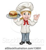 Vector Illustration of Happy Cartoon White Female Chef Gesturing Ok and Holding a Cheese Burger on a Tray by AtStockIllustration