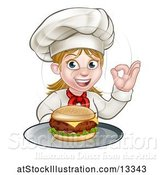 Vector Illustration of Happy Cartoon White Female Chef Gesturing Perfect and Holding a Cheese Burger on a Tray by AtStockIllustration