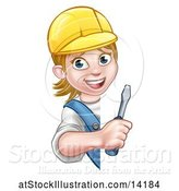 Vector Illustration of Happy Cartoon White Female Electrician Wearing a Hardhat, Holding a Screwdriver Around a Sign by AtStockIllustration