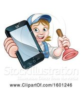 Vector Illustration of Happy Cartoon White Female Plumber Holding a Plunger and Cell Phone over a Sign by AtStockIllustration