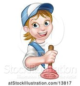 Vector Illustration of Happy Cartoon White Female Plumber Holding a Plunger Around a Sign by AtStockIllustration