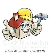 Vector Illustration of Happy Cartoon White Home Mascot Character Wearing a Hardhat, Holding a Hammer and Giving a Thumb up by AtStockIllustration