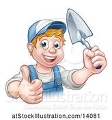 Vector Illustration of Happy Cartoon White Male Gardener Holding a Garden Trowel and Giving a Thumb up by AtStockIllustration