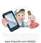 Vector Illustration of Happy Cartoon White Male Plumber Holding a Plunger and Cell Phone over a Sign by AtStockIllustration