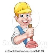 Vector Illustration of Happy Cartoon White Male Plumber Holding a Plunger Around a Sign by AtStockIllustration