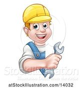 Vector Illustration of Happy Cartoon White Male Worker Holding a Spanner Wrench Around a Sign by AtStockIllustration