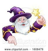Vector Illustration of Happy Cartoon Wizard Holding a Magic Wand over a Sign by AtStockIllustration