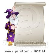 Vector Illustration of Happy Cartoon Wizard Pointing Around a Scroll Sign by AtStockIllustration